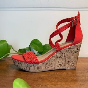 Mossimo Supply Red Woven Faux Cork Wedge Sandal